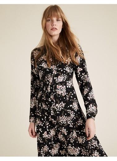Marks & Spencer Çiçek Desenli Midi Gömlek Elbise Siyah